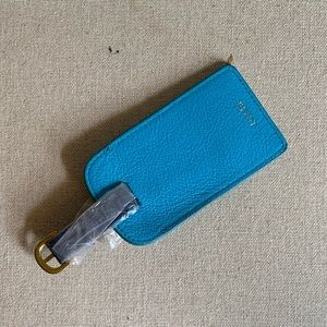 J.Crew Blue Leather Luggage Travel Buckle Tag New